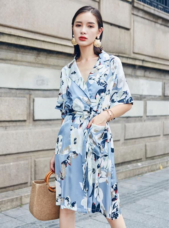 WRAP BLUE FLORAL SHIRT DRESS KOREAN DESIGN - непромокайний