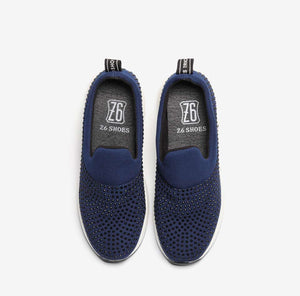 NAVY EMBELLISHED SNEAKERS WITH LIFTED SOLE CRUELTY-FREE SPRING 2018