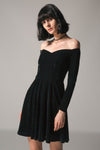 BLACK VELVET OFF SHOULDER DRESS SIZE: S - XXXL - IMPAVIID