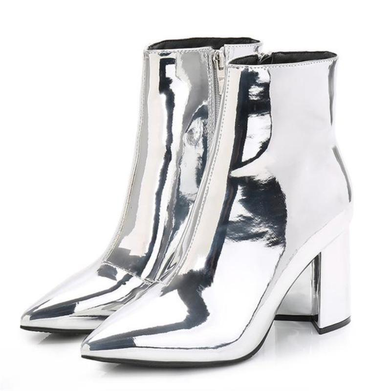 SILVER MIRROR ANKLE BOOTS CRUELTY-FREE