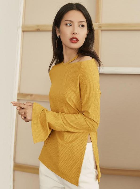 YELLOW SWEATER WITH CUT OUTS AND SPLITS KOREAN DESIGN