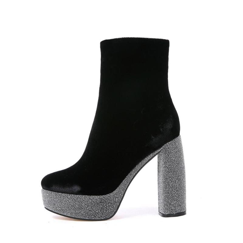 VELVET ANKLE BOOTS WITH SPARKLING HEELS CRUELTY-FREE - impaviid