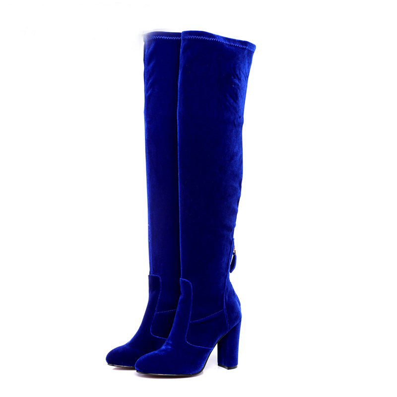 VELVET OVER-THE-KNEE CRUELTY-FREE BOOTS - impraid