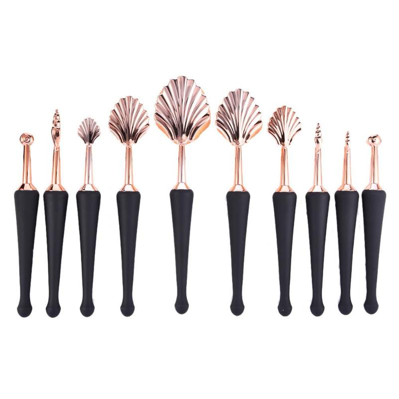 10PCS ROSE GOLD OVAL MAKEUP BRUSHES SHELL SHAPED BEZ MALTAS - IMPAVIID