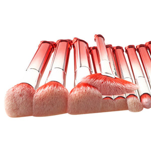 10 PCS RED & SILVER METALLIC BRUSHES CRUELTY-FREE - IMPAVIID