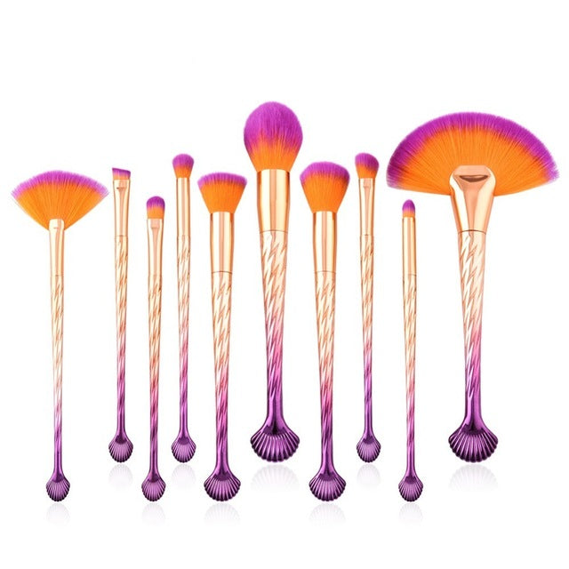10 & 7 PCS OPTIONS MAKEUP BRUSHES SHELL / MERMAID CRUELTY-FREE - IMPAVIID