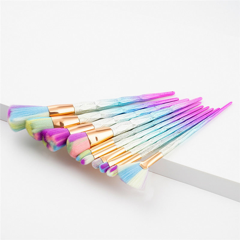 10PCS RAINBOW UNICORN MAKEUP BRUSHES - IMPAVIID