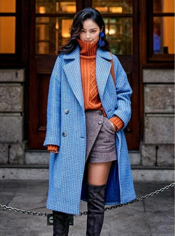 BLUE CHIC PLAID MAXI COAT - IMPAVIID