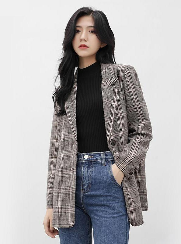 VINTAGE PLAID BLAZER KOREAN DESIGN - impaviid