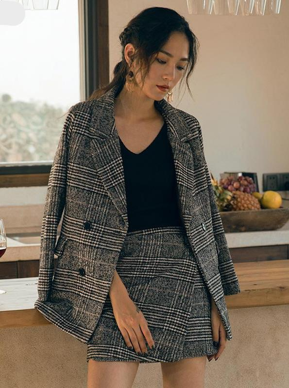 VINTAGE PLAID BLAZER AND MINI SKIRT SET KOREAN DESIGN - impaviid