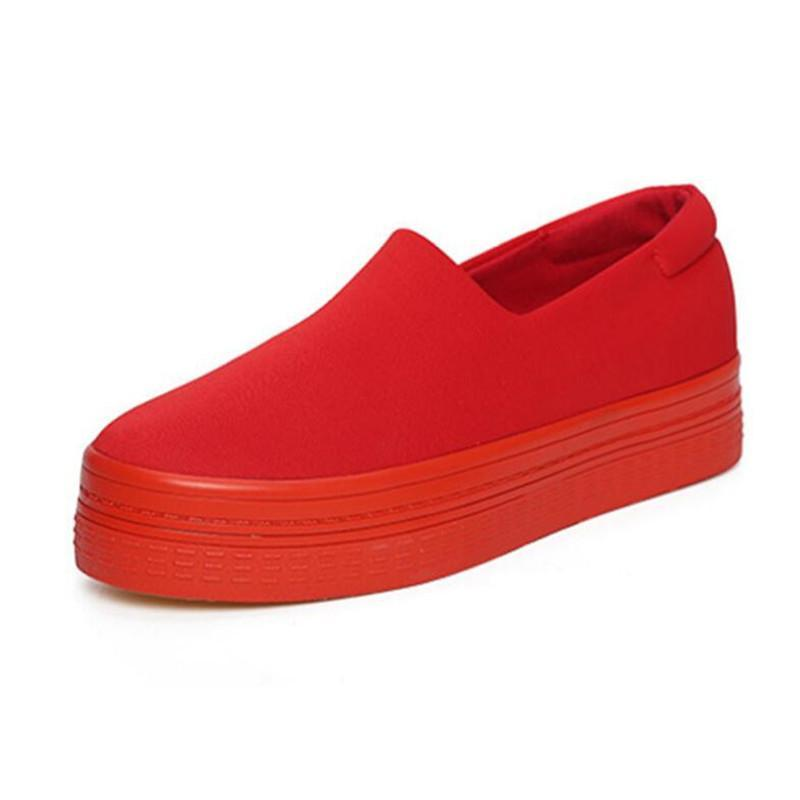SLIP ON RED CANVAS SHOES - impaviid