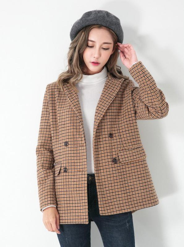CARAMEL PLAID BLAZER KOREAN DESIGN - IMPAVIID