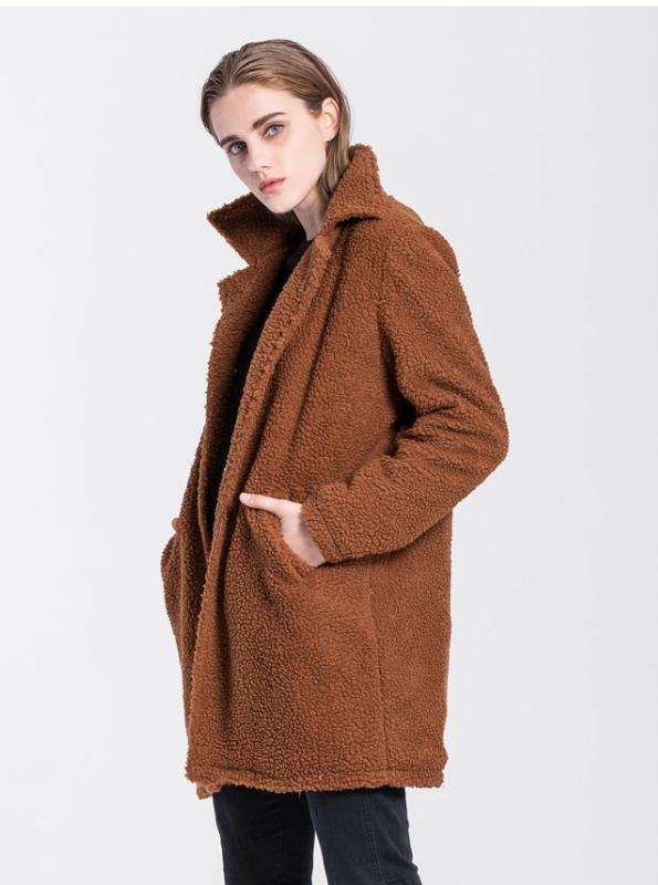 FAUX FUR FUZZY LONG BROWN COAT - impaviid