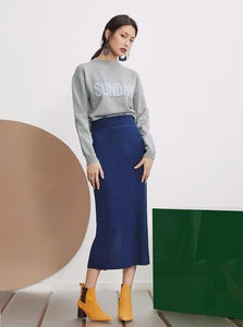 CASUAL KNITTED MID-CALF SKIRT - IMPAVIID