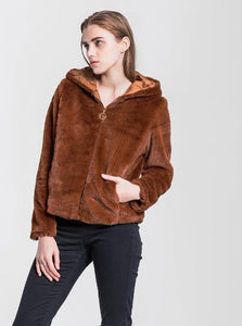 FUZZY HOODED JACKET / FAUX FUR - impaviid