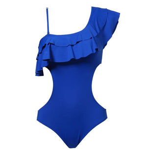 OFF SHOULDER RUFFLED ONE PIECE SWIMSUIT