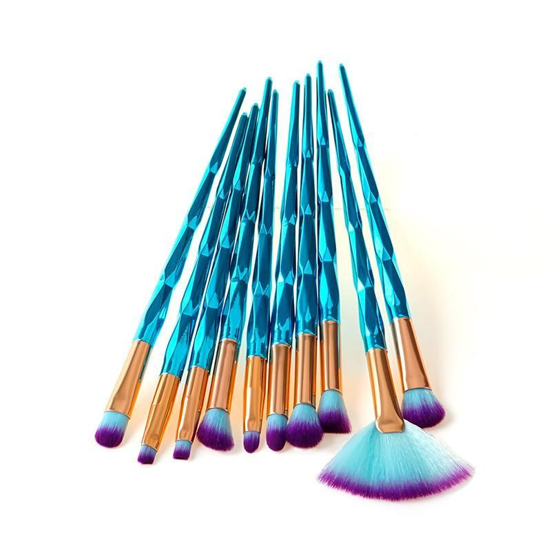 7 PCS / 10 PCS BLUE UNICORN MAKEUP BRUSHES