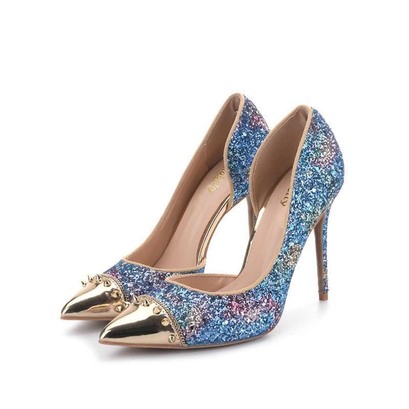 Carollabelly Brand Shoes Glitter Pointed Toe High Heel Shoes Rivet Sexy Wedding Shoes Women Dress Shoes - IMPAVIID