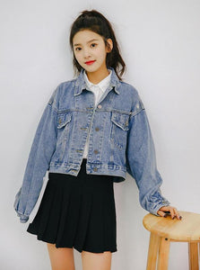 CROPPED OVERSIZED DENIM JACKET KOREAN DESIGN - impaviid