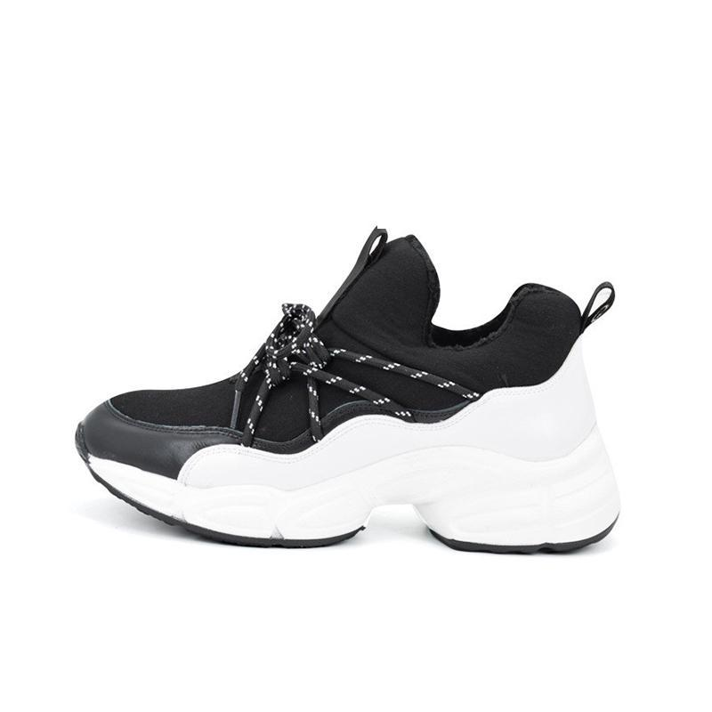 WEDGED SNEAKERS BLACK & WHITE CRUELTY-FREE - impaviid