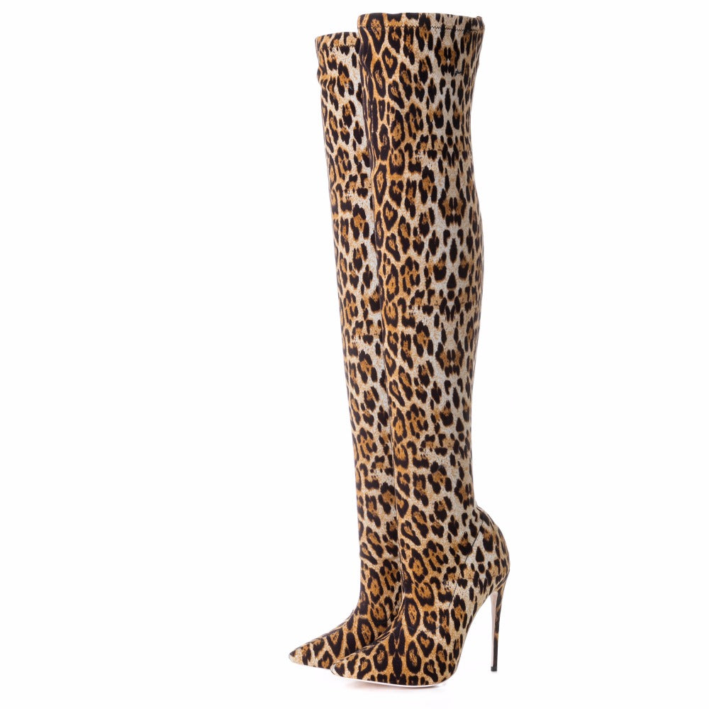 OVER THE KNEE LEOPARD PRINT BOOTS