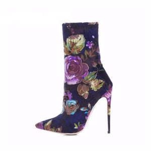 FLORAL EMBROIDERY HIGH HEEL ANKLE BOOTS