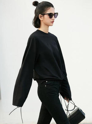 LACED UP FLARE SLEEVE CASUAL SWEATSHIRT 3 COLORS - impaviid