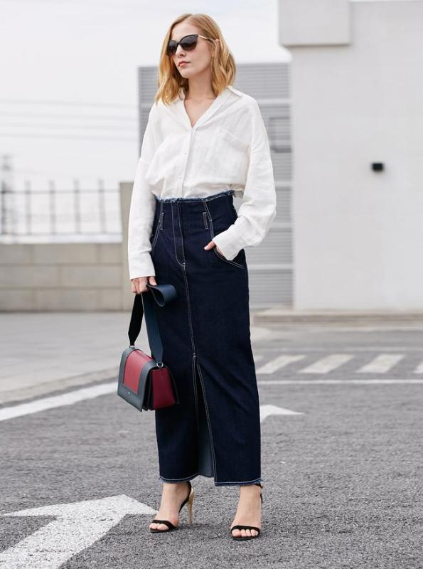 MAXI DENIM SKIRT - impaviid