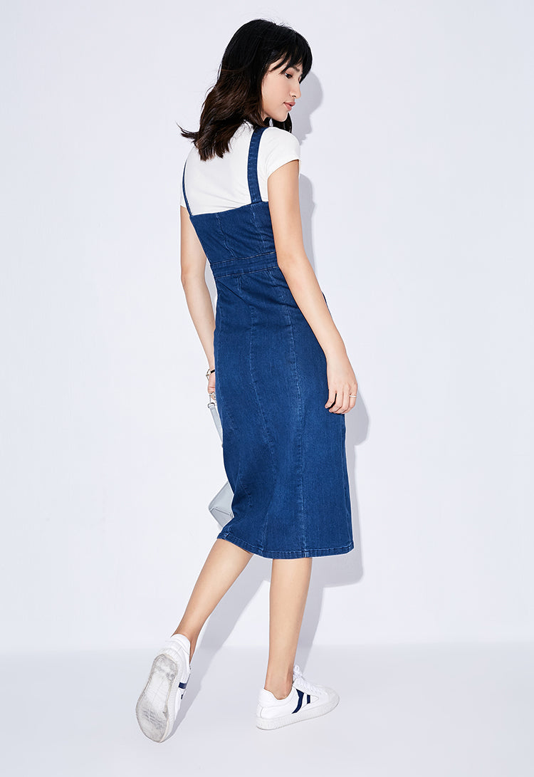 SLIM DENIM OVERALL DRESS - impaviid
