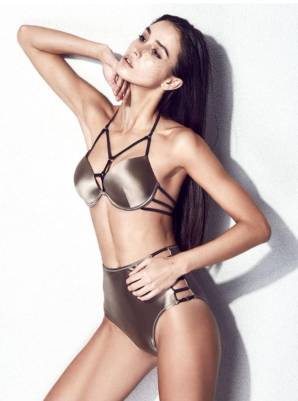 TATLONG PIECE BANDAGE METALLIC BROWN SWIMMING SUIT - impraid