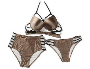 THREE PIECE BANDAGE METALLIC BROWN SWIMMING SUIT - impaviid