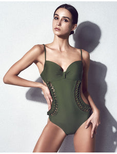 EN PIECE SIDE CUT-OUT SWIMSUIT - impaviid