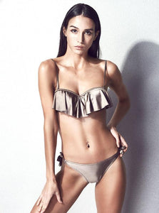 METALLIC RUFFLED 2 PIECE BIKINI / SWIMSUIT - impraid
