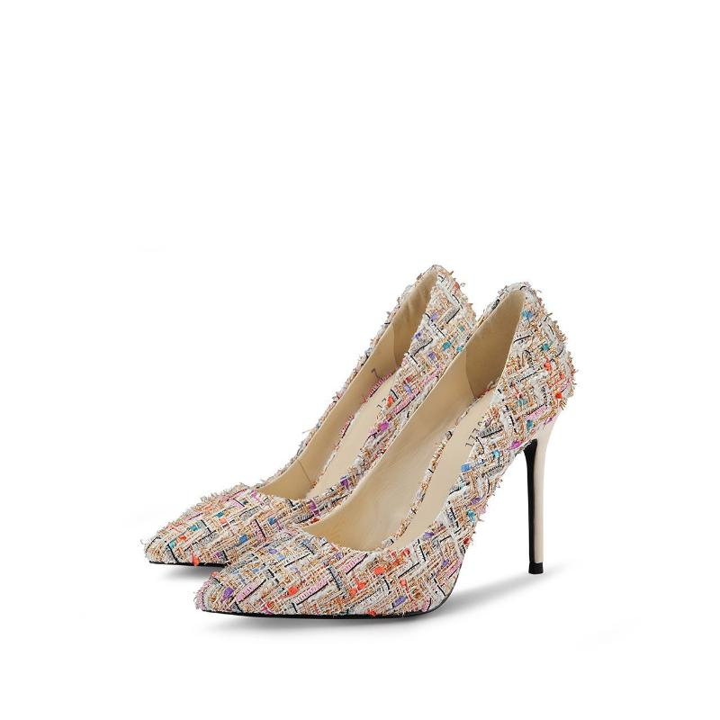 COLORFUL WOVEN POINTED TOE HEELS - IMPAVIID