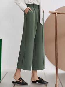 WIDE-LEGGED GREEN ANKLE LENGTH PANTS - impaviid