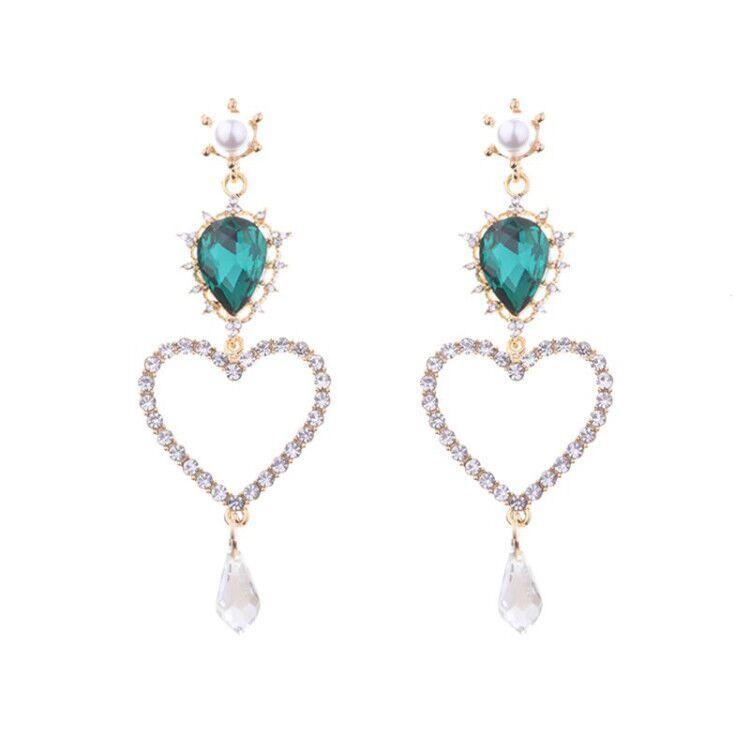 HEART SHAPED DROP EARRINGS 2 COLORS - impaviid