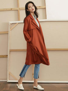 2 COLORS SPRING TRENCH COAT ORANGE & BEIGE - IMPAVIID