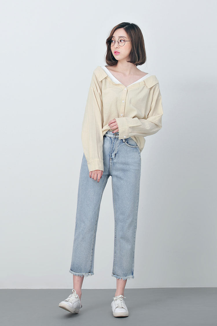 LOOSE & WASHED OVERSIZED BOYFRIEND JEANS - impaviid