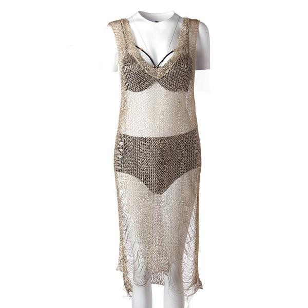 METALLIC KNITTED SHEER BEACH TUNIC