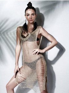 METALLIC KNITTED SHEER BEACH TUNIC - impraid