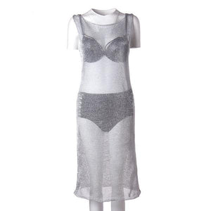 METALLIC KNITTED SHEER BEACH TUNIC - impaviid