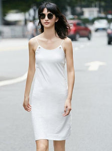 MINIMALISM CASUAL KNEE-LONG CAMI DRESS MULTIPLE COLOURS - impaviid