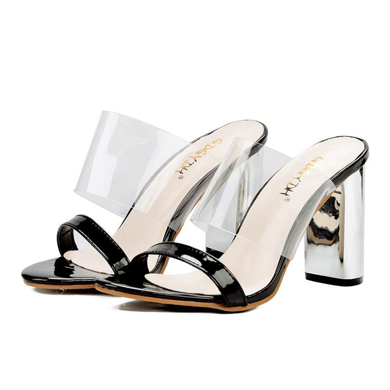 PLASTIC MULES ON THICK SQUARE HEELS CRUELTY-FREE - impaviid