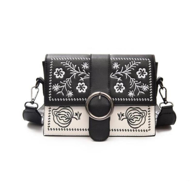 EXPOSED STITCHING / EMBROIDERY BLACK AND WHITE BAG VEGAN LEATHER