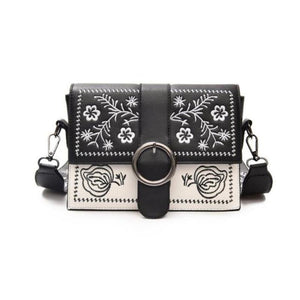 EXPOSED STITCHING / EMBROIDERY BLACK AND WHITE BAG VEGAN LEATHER - impaviid