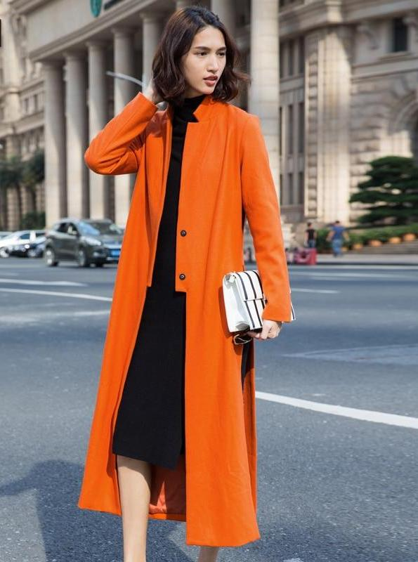 2409d9fa502 amii casual minimalist women woolen coat 2018 winter long covered button  slits female wool blends