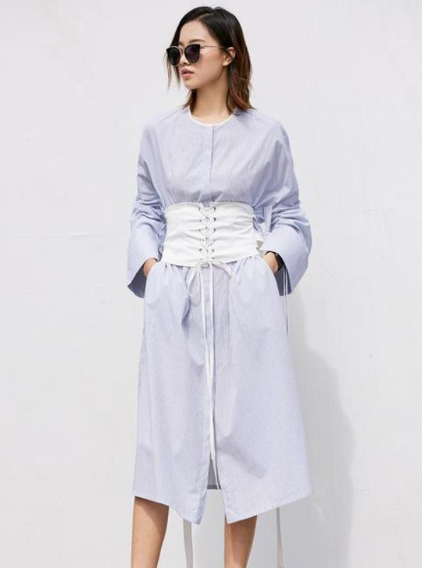 GALAGANG SHIRT STYLED MIDI DRESS WITH CORSET BELT - impisid