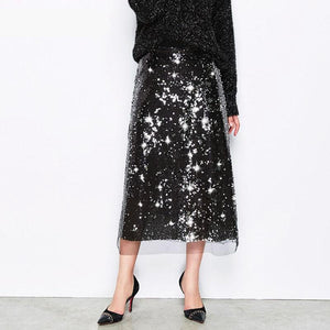 MIDI SEQUINED MESH SKIRT BLACK - impaviid
