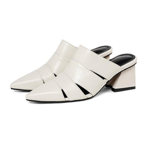 POINTED TOE GLADIATOR MULES 2 COLOURS CRUELTY FREE - impaviid