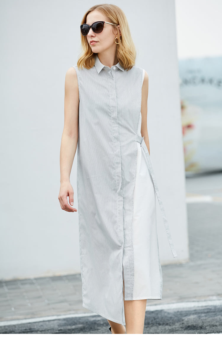 MINIMALISM ASYMMETRICAL TWO COLOR SHIRT DRESS - impaviid